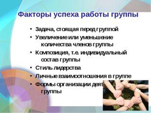 Факторы успеха работы группы Задача, стоящая перед группой Увеличение или уме
