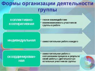 Формы организации деятельности группы