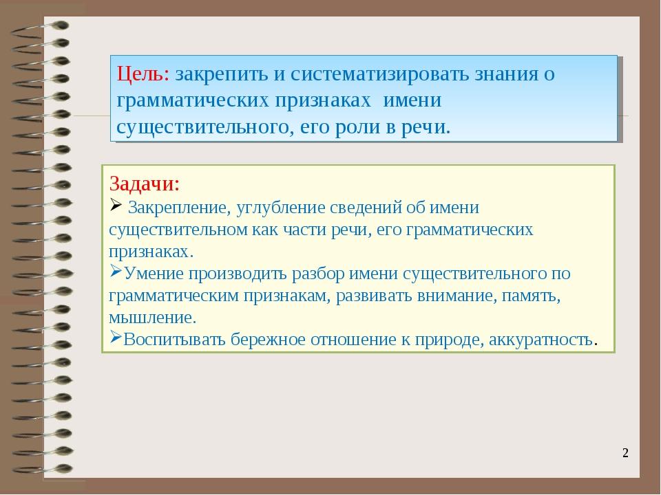 * Цель: закрепить и систематизировать знания о грамматических признаках имени...