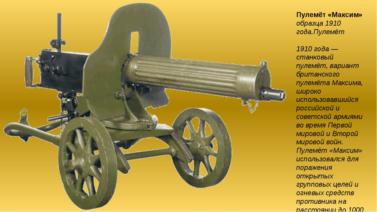 Пулемёт «Максим» образца 1910 года.Пулемёт «Ма́ксим» образца 1910 года — стан...