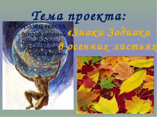 Тема проекта: «Знаки Зодиака в осенних листьях»