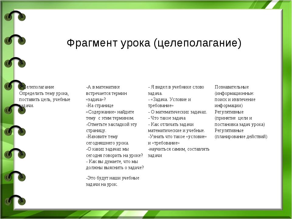 Фрагмент урока (целеполагание) 2.Целеполагание Определить тему урока, постави...