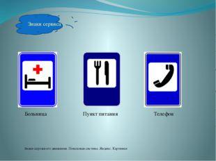 Знаки сервиса Больница Пункт питания Телефон Знаки дорожного движения. Поиско
