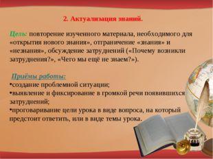 2. Актуализация знаний. Цель: повторение изученного материала, необходимого д