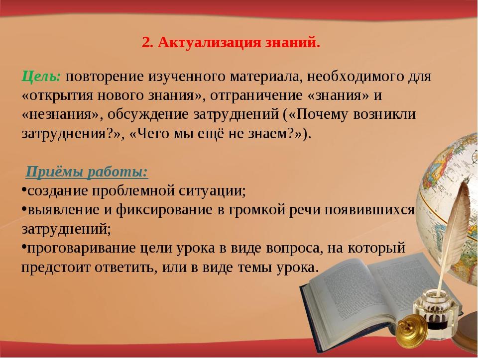 2. Актуализация знаний. Цель: повторение изученного материала, необходимого д...