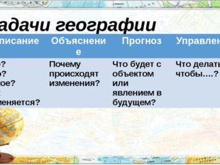 Задачи географии Описание Объяснение Прогноз Управление Где? Что? Какое? Как
