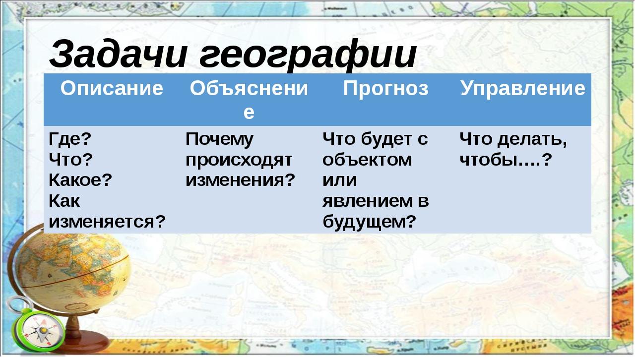 Задачи географии Описание Объяснение Прогноз Управление Где? Что? Какое? Как...