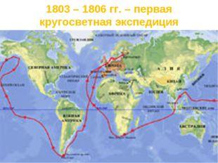 1803 – 1806 гг. – первая кругосветная экспедиция