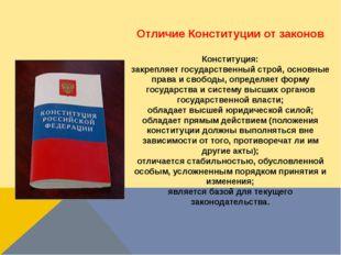 Отличие Конституции от законов Конституция: закрепляет государственный строй,