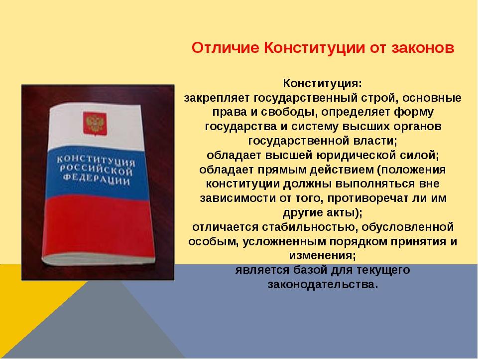 Отличие Конституции от законов Конституция: закрепляет государственный строй,...
