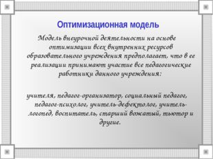 Оптимизационная модель Модель внеурочной деятельности на основе оптимизации в