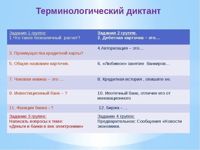 Терминологический диктант Задания1 группе: 1.Что такое безналичный расчет? З...