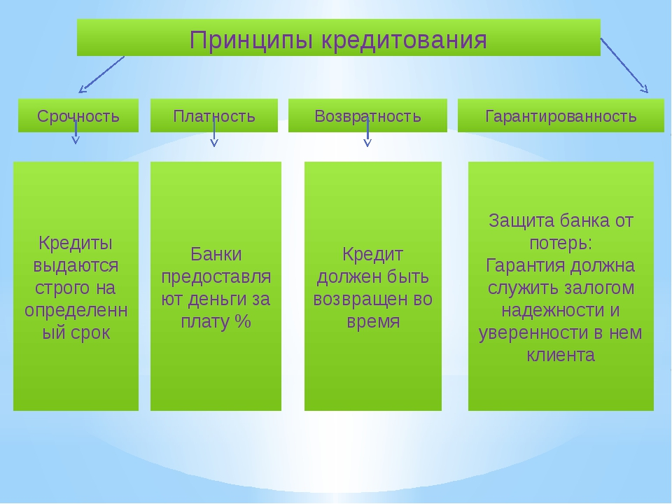 Принципы кредитования Срочность Платность Возвратность Гарантированность Кред...