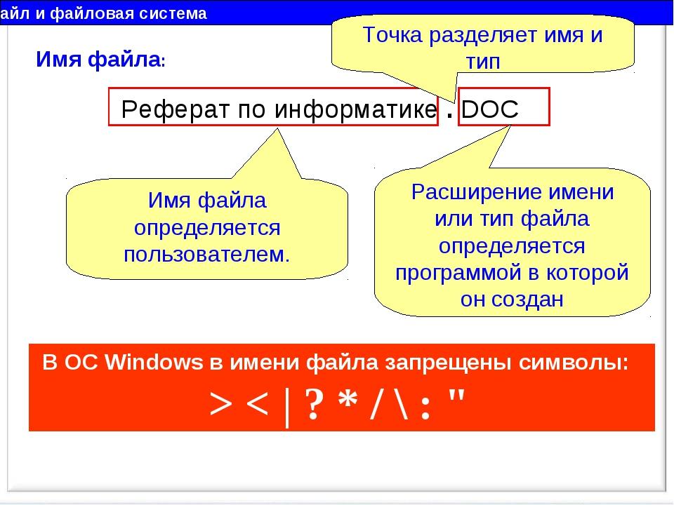 Файл и файловая система Имя файла: Реферат по информатике . DOC Имя файла опр...
