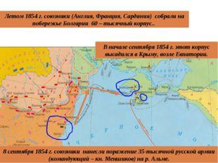 Летом 1854 г. союзники (Англия, Франция, Сардиния) собрали на побережье Болга