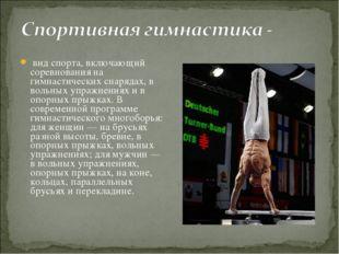 вид спорта, включающий соревнования на гимнастических снарядах, в вольных уп