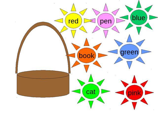 pen pink cat book green blue red