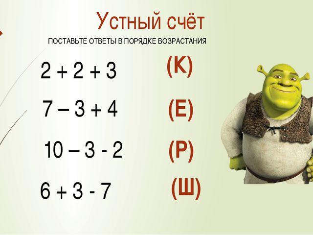Устный счёт 2 + 2 + 3 7 – 3 + 4 10 – 3 - 2 6 + 3 - 7 (К) (Е) (Р) (Ш) ПОСТАВЬТ...
