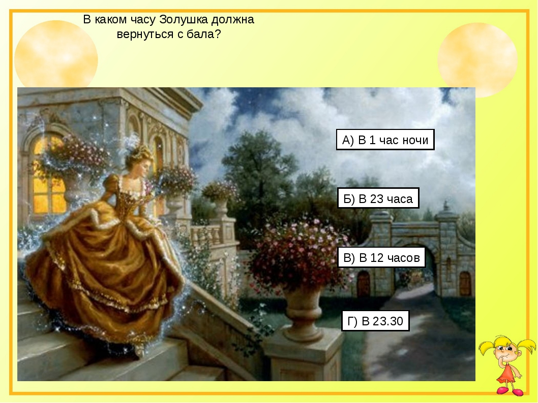 В каком часу Золушка должна вернуться с бала? А) В 1 час ночи Б) В 23 часа В)...