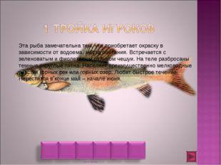 Эта рыба замечательна тем, что приобретает окраску в зависимости от водоема,
