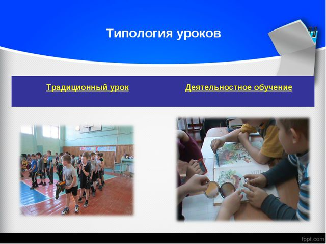 Типология уроков Традиционный урок Деятельностное обучение