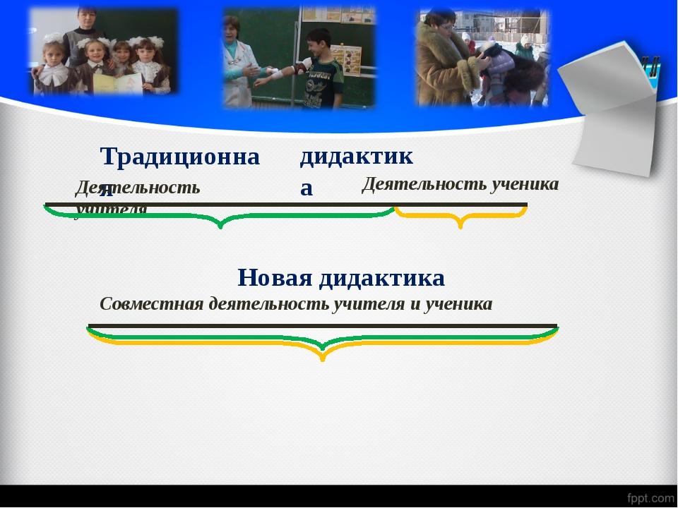 Традиционная дидактика Деятельность учителя Деятельность ученика Новая дидакт...