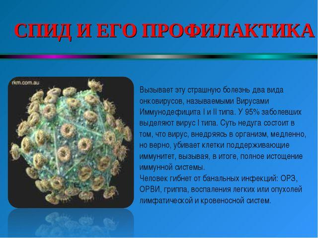СПИД И ЕГО ПРОФИЛАКТИКА Вызывает эту страшную болезнь два вида онковирусов,...