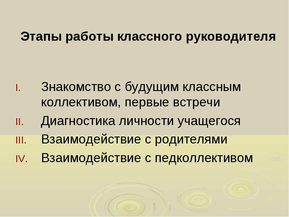 Этапы работы классного руководителя Знакомство с будущим классным коллективом...