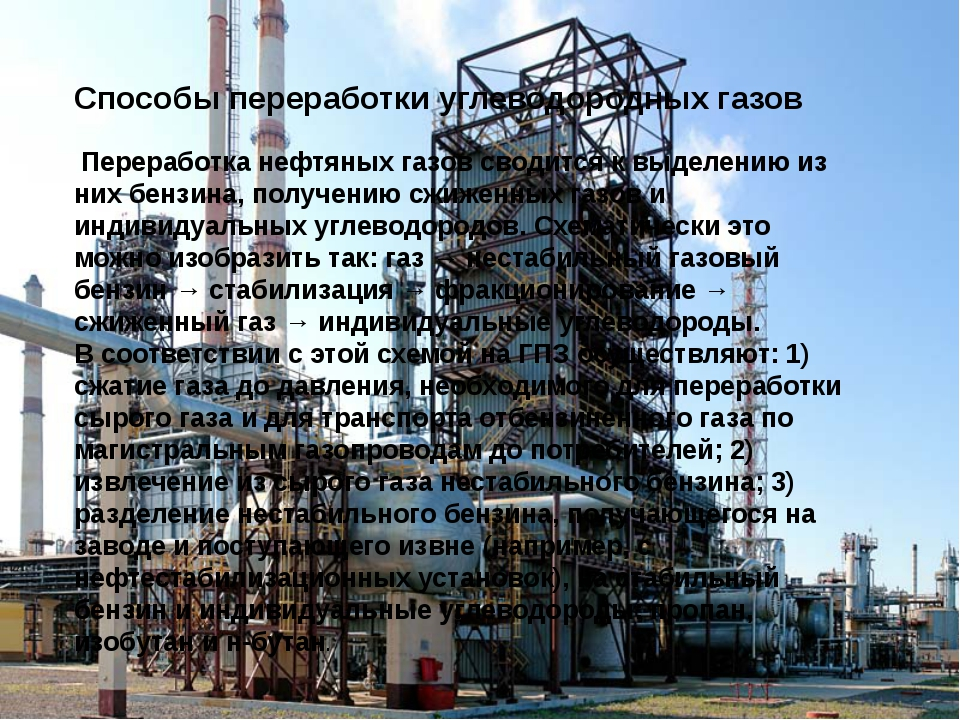 Способы переработки углеводородных газов Переработка нефтяных газов сводитс...