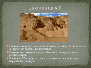 На левом берегу Нила расположена Долина, где находятся 40 гробниц царей и их