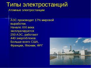 Типы электростанций АЭС производят 17% мировой выработки. Начало ХХI века экс