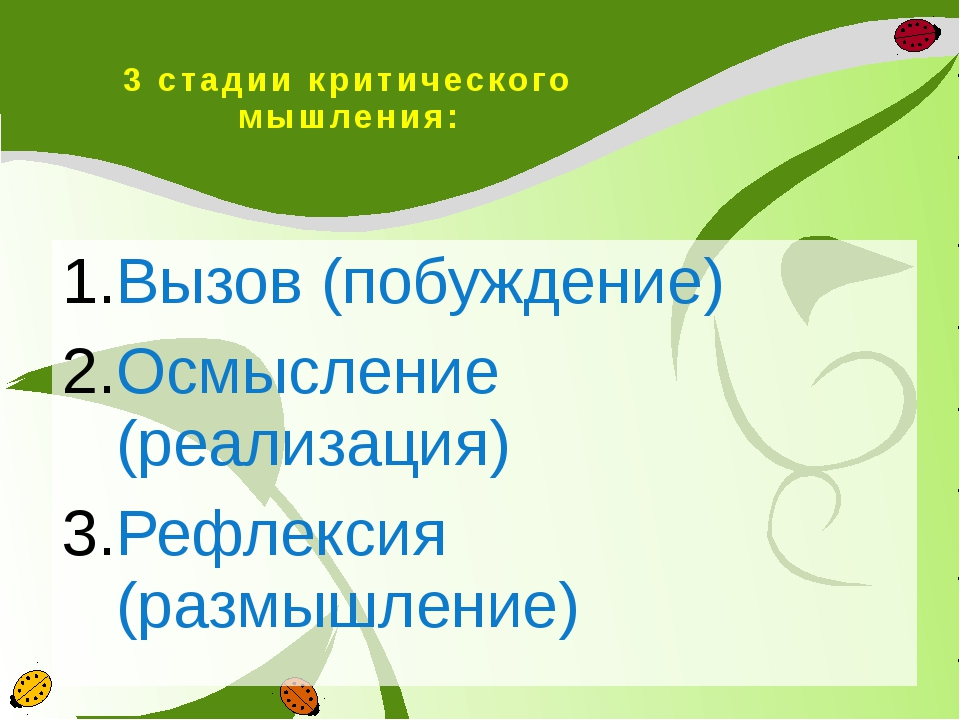 3 стадии критического мышления: Вызов (побуждение) Осмысление (реализация) Ре...