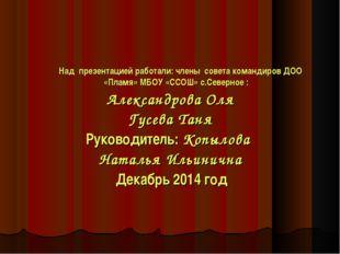 Над презентацией работали: члены совета командиров ДОО «Пламя» МБОУ «ССОШ» с