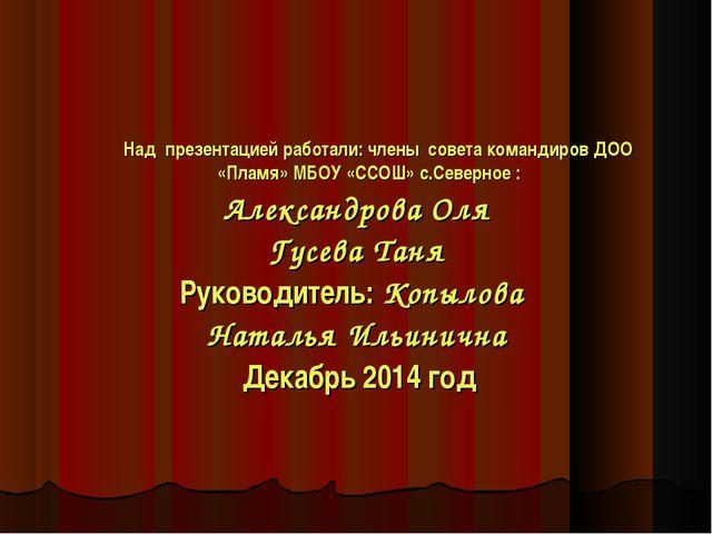 Над презентацией работали: члены совета командиров ДОО «Пламя» МБОУ «ССОШ» с...