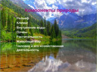 Компоненты природы Рельеф Климат Внутренние воды Почвы Растительность Животны