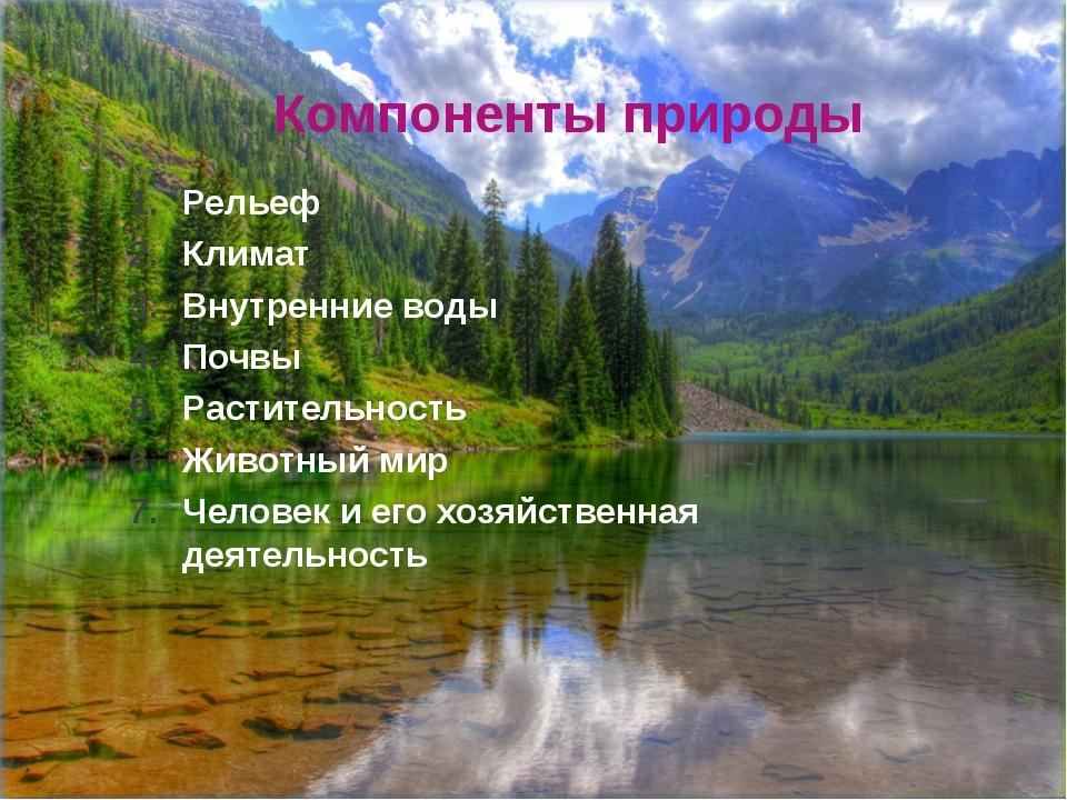 Компоненты природы Рельеф Климат Внутренние воды Почвы Растительность Животны...
