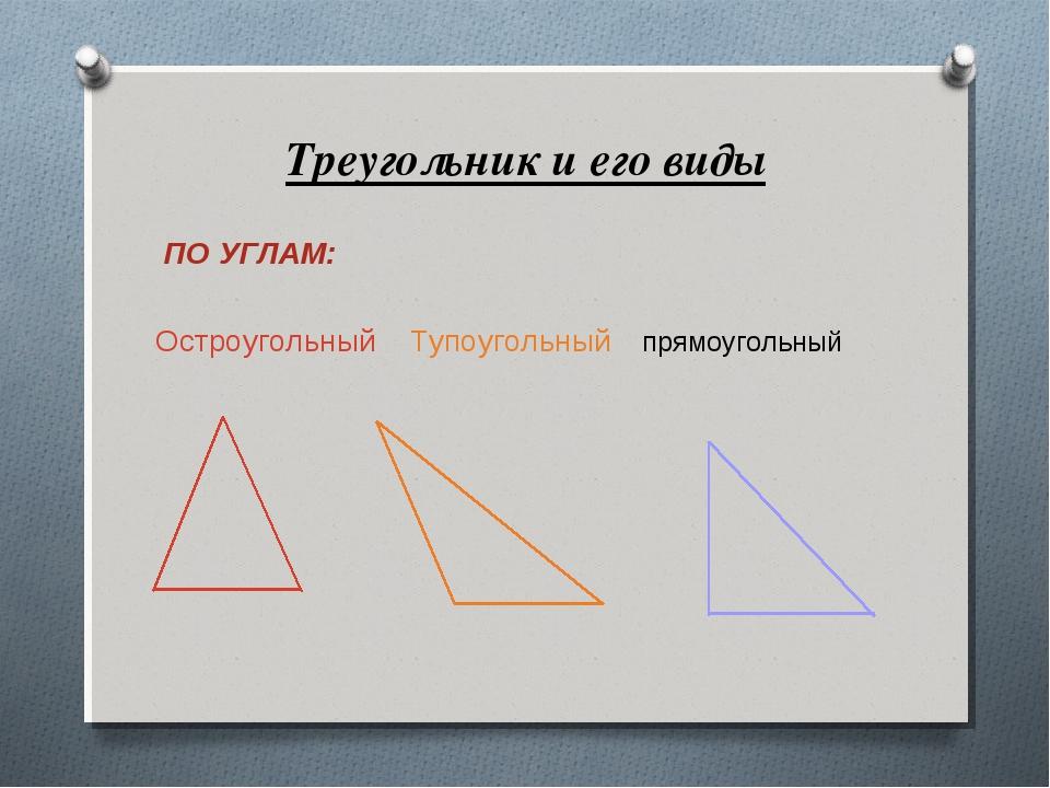 Треугольник и его виды ПО УГЛАМ: Остроугольный Тупоугольный прямоугольный