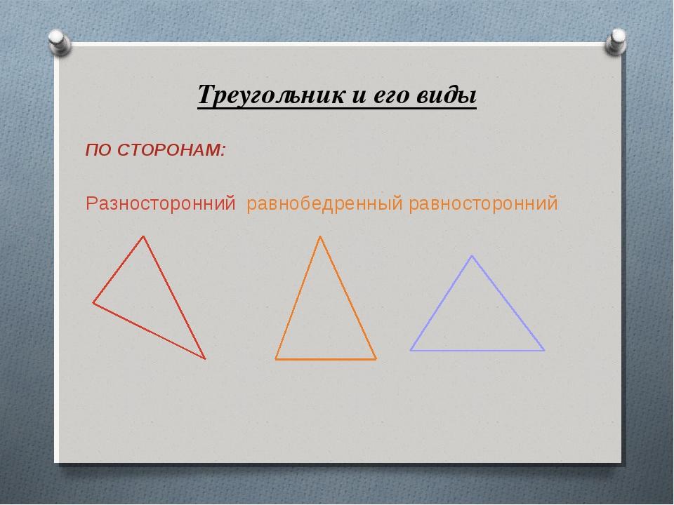 Треугольник и его виды ПО СТОРОНАМ: Разносторонний равнобедренный равносторо...