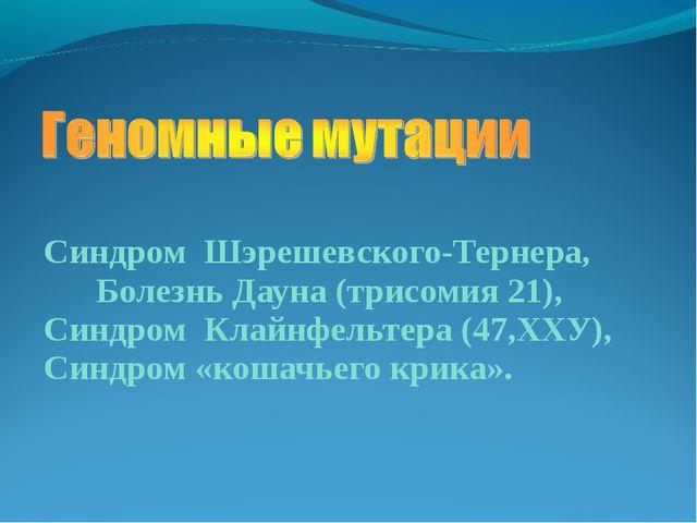 Синдром Шэрешевского-Тернера, Болезнь Дауна (трисомия 21), Синдром Клайнфельт...