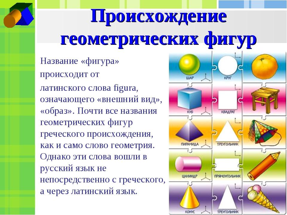 Происхождение геометрических фигур Название «фигура» происходит от латинского...