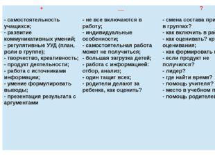 + __ ? - самостоятельность учащихся; - развитие коммуникативных умений; - рег