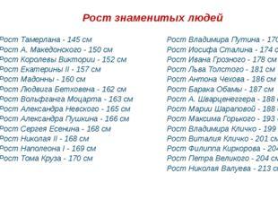 Рост знаменитых людей РостТамерлана - 145 см РостА. Македонского - 150 см Р