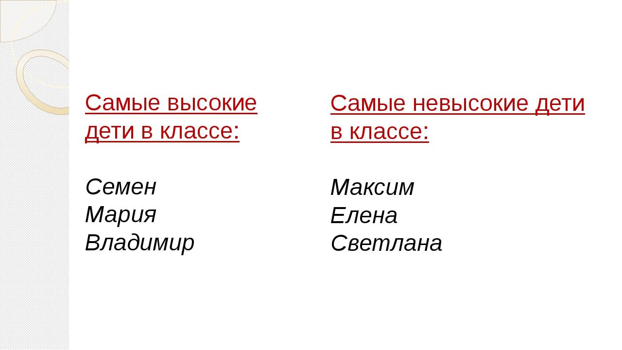 Самые высокие дети в классе: Семен Мария Владимир Самые невысокие дети в кла...