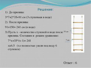 1) До прилива: 3*7+2*35=91 см (3 ступеньки в воде) 2) После прилива: 91+150=