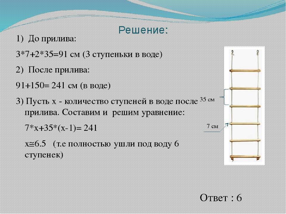 1) До прилива: 3*7+2*35=91 см (3 ступеньки в воде) 2) После прилива: 91+150=...