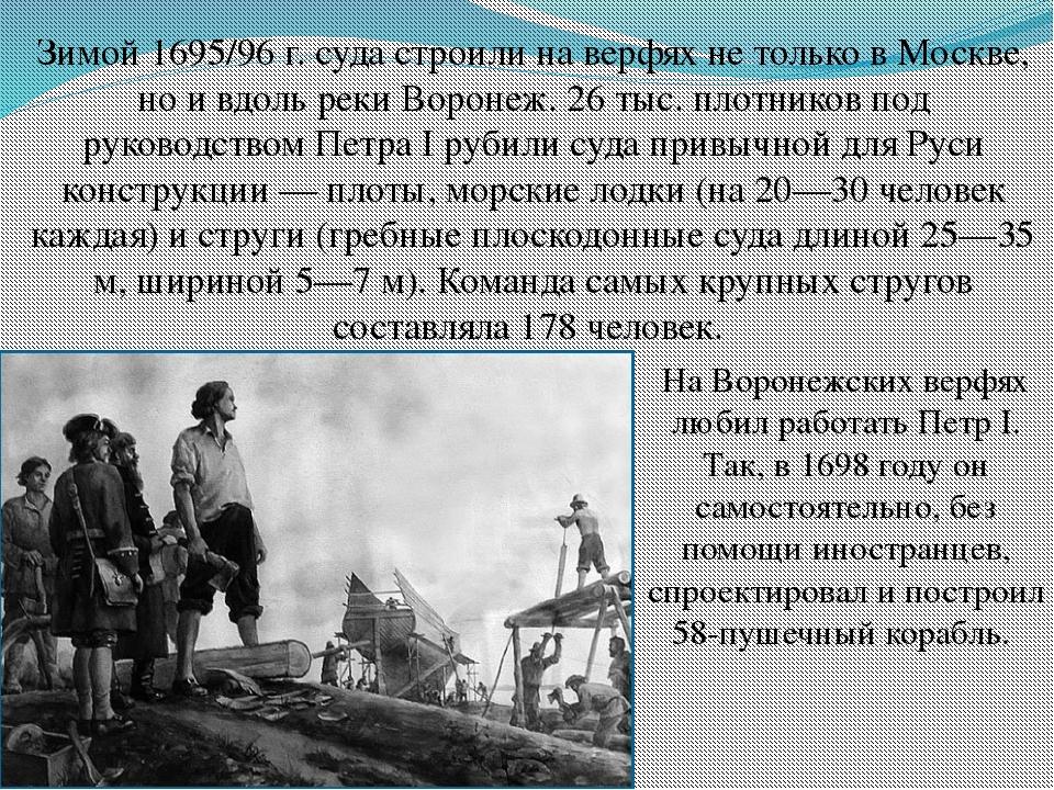 Зимой 1695/96 г. суда строили на верфях не только в Москве, но и вдоль реки В...