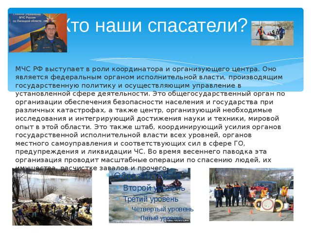 Кто наши спасатели? МЧС РФ выступает в роли координатора и организующего цент...