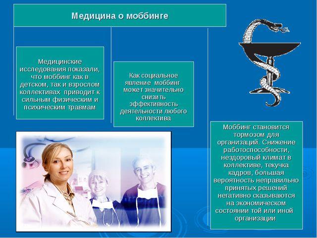 Медицина о моббинге Медицинские исследования показали, что моббинг как в детс...