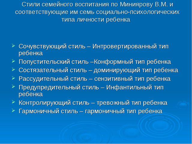 Стили семейного воспитания по Миниярову В.М. и соответствующие им семь социал...