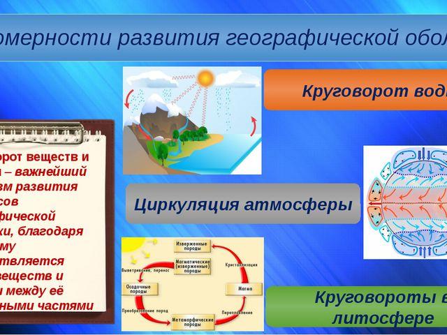 Закономерности развития географической оболочки Круговорот воды Циркуляция ат...